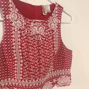 Red & white lace crop top